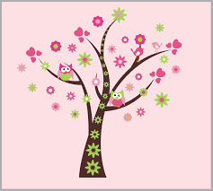Girls Tree Wall Decals Forest Wall Decal Nursery Wall Decal Pink Nurserydecals4you