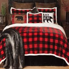 buffalo plaid plush bed set twin