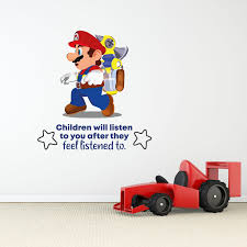 Design With Vinyl Listen Children Super Mario Cartoon Quotes Wall Decal Wayfair