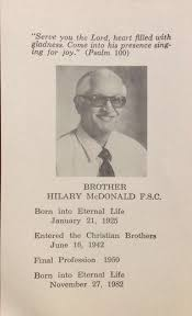 Br Hilary McDonald ----- Uncle Pat   First love, Psalm 100, Hilary