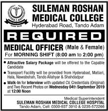 Suleman Roshan Medical College Tando Adam Jobs 2019 for Medical Officer  Latest
