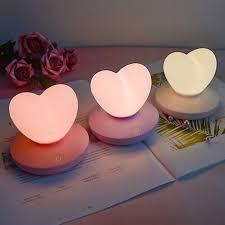 Silicone Led Night Light Lamp Heart Shape Rechargeable Touch Sensor Kids Room Ebay