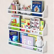 Nursery D Cor Wall Shelves 3 Shelf Set 30 White Long Crown Molding Floating Bookshelves For Baby And Kids Room Book Organizer Storage Ledge Display Holder For Toys Baby Monitor Fully Assembled