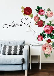Roses Wall Decal Beautiful Blooming Roses Pink Roses Red Etsy