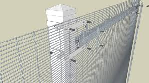 Exploded View Of Welded Wire Fence On Square Posts 3d Warehouse