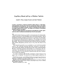 Capillary Blood pH by a Dilution Technic