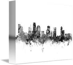 Houston Skyline Black And White By Monn Print