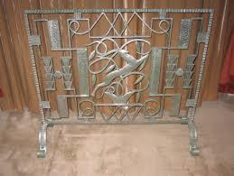 art deco iron fireplace screen