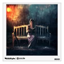 Woman Reading Book In The Rain Wall Decal Zazzle Com