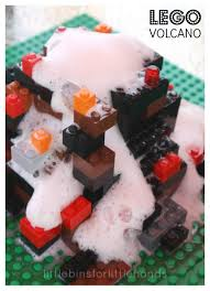 build a lego volcano little bins for