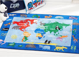 Amazon Com Home Dynamix Eric Carle Elementary World Map Educational Kids Area Rug 4 11 X6 6 Red Blue Furniture Decor