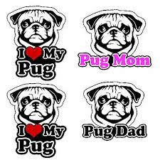 Pug Vinyl Decal Sticker Pack Lot I Love My Rescue Dog For Bumper Window Fc44 Ebay