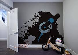 Banksy Monkey With Headphones Wall Art Banksy Chimp Head Listening To Music Earphones Dj Vinyl Decal Sticker Banksy Monkey Kid Room Decor Apartment Wall Decor
