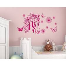 Flower Horse Wall Decal Wall Sticker Vinyl Wall Art Home Decor Wall Mural 2556 Lilac 24in X 12in Walmart Com Walmart Com