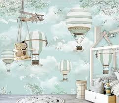 Custom Size Wallpaper Mural For Kid S Room Cartoon Balloon Bvm Home