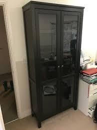 hemnes glass door cabinet black brown