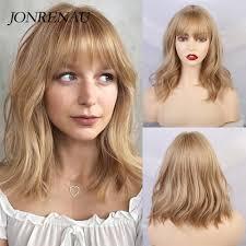 Jonrenau Dlugie Blond Mieszane Kolor Wlosow Syntetyczne Peruki Z