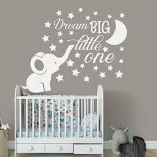 Dream Big Little One Quote Decor Cute Elephant Moon Star Baby Kids Room Decal Nursery Removable Vinyl Wall Sticker Ba048 Wall Stickers Aliexpress