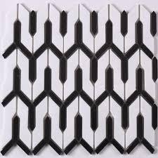 Carrar White Mixed Black Arrow Stone Mosaic Tile For Floor Bathroom