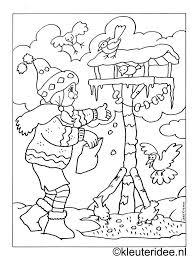Kleurplaat Meisje Met Vogelhuisje Kleuteridee Nl Kleurplaten