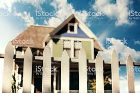 Wooden White Fence At Farmhouse Front Yard Stock Photo Download Image Now Istock