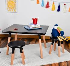 Kids 3 Piece Table And Stool Set Dipped Black 0154101 Ace Casual Furniture