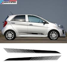 Racing Sport Door Side Skirt Stripes For Kia Picanto Car Styling Body Decor Sticker Auto Accessories Creative Vinyl Decals Revi Kia Picanto Car Car Accessories