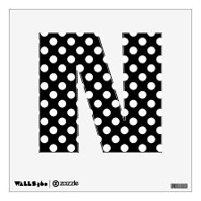 Black White Polka Dot Letter N Wall Decal Zazzle Com