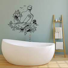Vinyl Wall Decal Message In A Bottle Sea Waves Sail Ship Stickers 413 Wallstickers4you