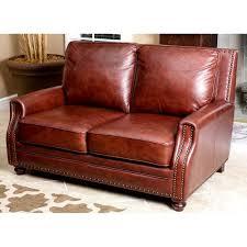 chestnut brown genuine leather loveseat