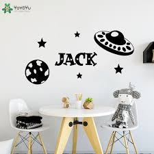 Yoyoyu Wall Decal Space Rocket Kids Personalized Name Vinyl Wall Sticker For Baby Nursery Bedroom Boys Decor Gift Poster Ct680 Wall Stickers Aliexpress