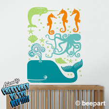 Sea Creatures Wall Decal Set Octopus Decal Whale Decal Seahorse Decal Narwhal Decal Ocean Animals Art Animal Stickers