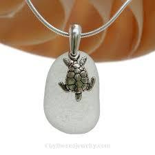 pure white sea glass necklace