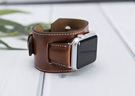 brown leather cuff apple watch band