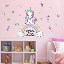 Colorful Unicorn Rainbow Wall Stickers Unilovers