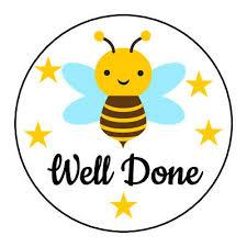 Well Done Cute Bee Sticker Kids Children Reward Chart Teacher ...