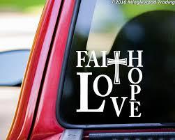 Faith Hope Love 8 X 8 Vinyl Decal Sticker Cross Minglewood Trading