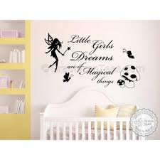 Nursery Wall Sticker Quote Little Girls Dreams Magical Things Bedroom Wall Decor Decal