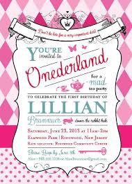 Alice In Wonderland Invitation 1st Birthday Party