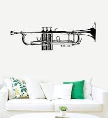 Amazon Com Creativewalldecals Wall Decal Vinyl Sticker Decals Art Decor Design Trumpet Jazz Instrument Music Live Horn Bedroom Modern Dorm Fashion R426 Home Kitchen