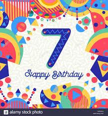 Feliz Cumpleanos 7 Ano Diseno Divertido Con Numero Texto De