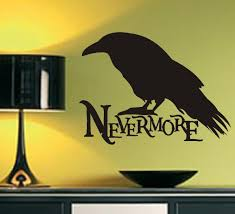 Gothic Wall Decal Nevermore Raven Silhouette Edgar A Poe Vinyl Wall Lettering Nevermore Raven Letter Wall