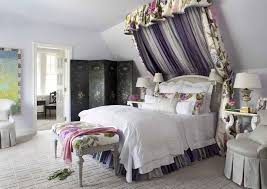 Girl Canopy Bedroom Sets With Traditional Kids And Bed Canopy Bed Crown Bedroom Bedside Table Changing Screen End Table Floral Upholstery Folding Screen Girls Room Lavender Walls Purple Walls Reading Lamp Side