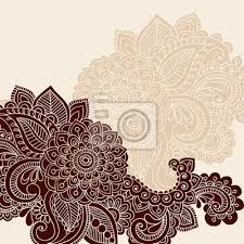 Henna Flowers Doodle Silhouette Vector Sticker Wall Decals Blue67