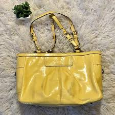 yellow patent leather purse