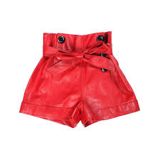 shorts women real sheepskin red black