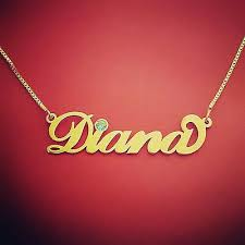 diana name necklace style gold name