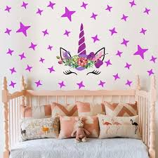 Unicorn Wall Sticker Colorful Animals Stars Flower Decals Kids Girls Room Nursery Bedroom Wallpaper Art Murals Home Decoration Wall Stickers Aliexpress
