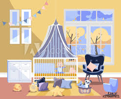 Newborn Kid Nursery Room Interior Flat Illustration Of Bedroom Furniture Childrens Room With Toys Chest Of Drawers With Changing Board Easy Chair Bed With Boy Window With Autumn Landscape Buy This