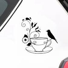 Buy 2 Pieces Car Sticker Beautiful Tea Cup Design Waterproof Removable Decal Car Sticks Decals At Jolly Chic